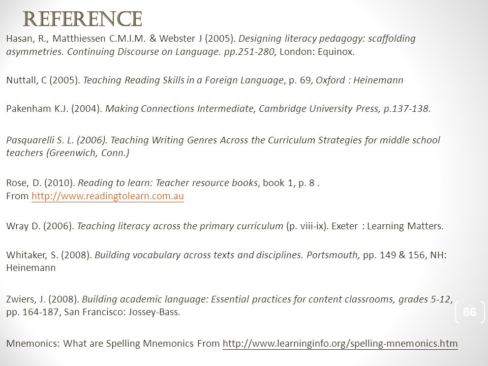 Reference Hasan, R., Matthiessen C.M.I.M. & Webster J (2005).