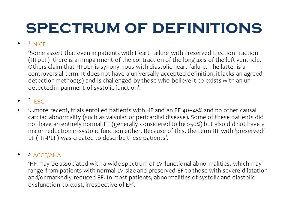 spectrum of definitions 1 NICE 'Some assert that even in patients with Heart Failure with Preserved Ejection Fraction (HFpEF) there is an impairment of the contraction of the long axis of the left ventricle.