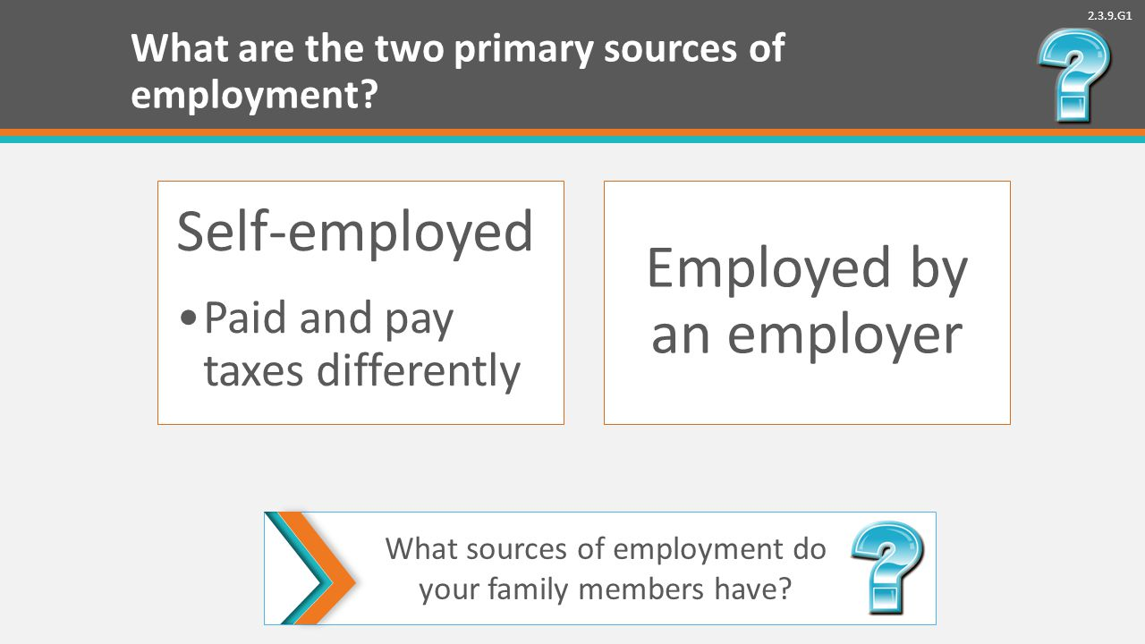 2.3.9.G1 What are the two primary sources of employment.