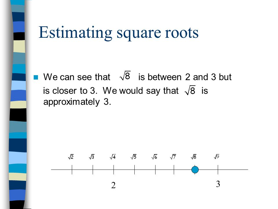 Estimating square roots We can see that is between 2 and 3 but is closer to 3.