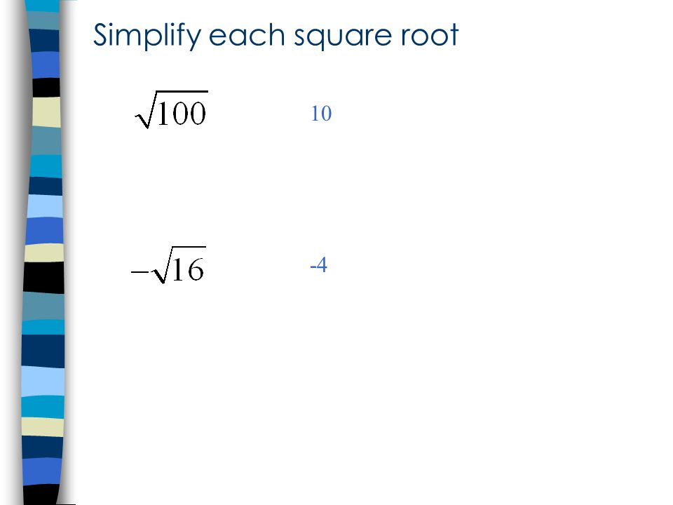 Simplify each square root 10 -4