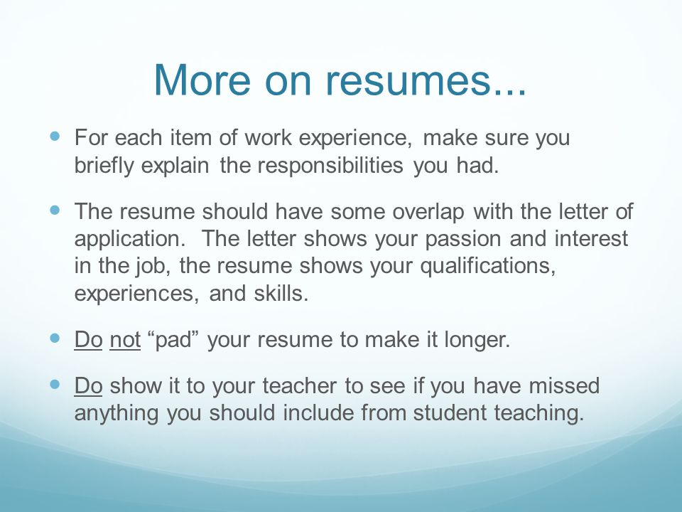 More on resumes...