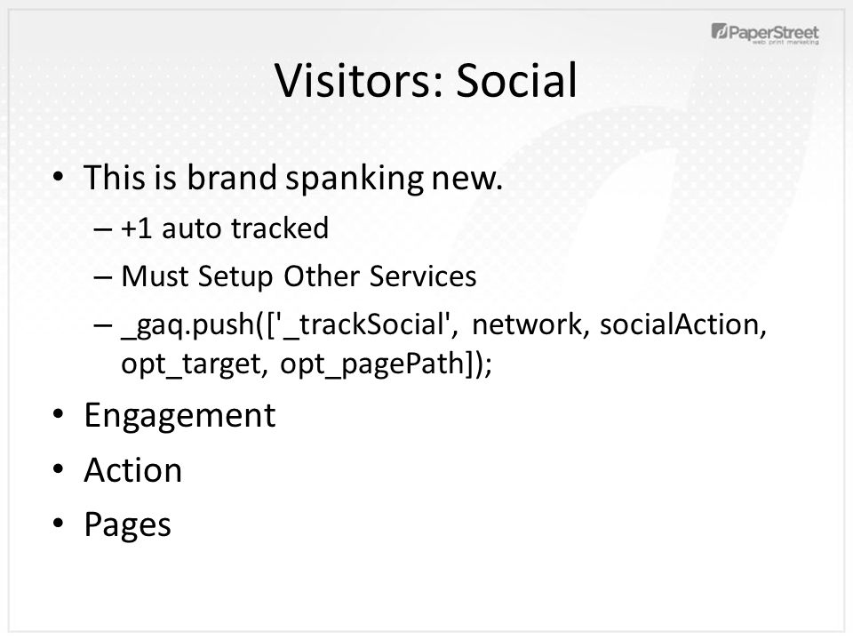 Visitors: Social This is brand spanking new.