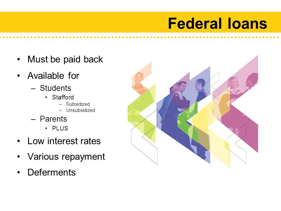 Federal loans Must be paid back Available for –Students Stafford –Subsidized –Unsubsidized –Parents PLUS Low interest rates Various repayment terms Deferments