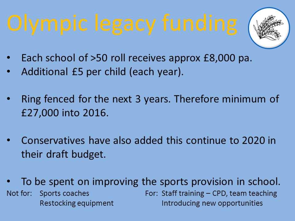 Each school of >50 roll receives approx £8,000 pa.