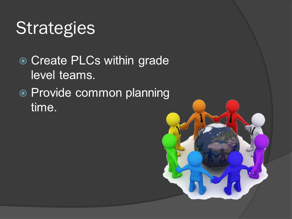 Strategies  Create PLCs within grade level teams.  Provide common planning time.