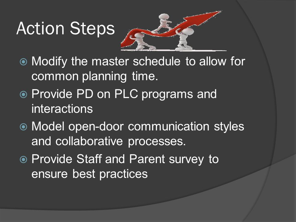 Action Steps  Modify the master schedule to allow for common planning time.
