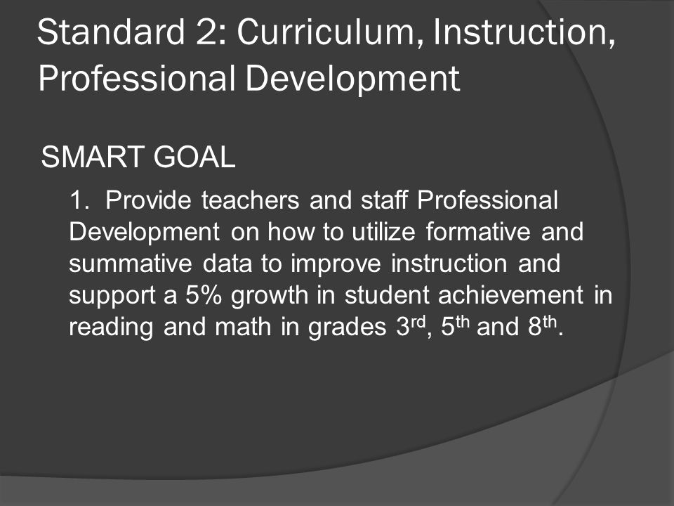 Standard 2: Curriculum, Instruction, Professional Development SMART GOAL 1.