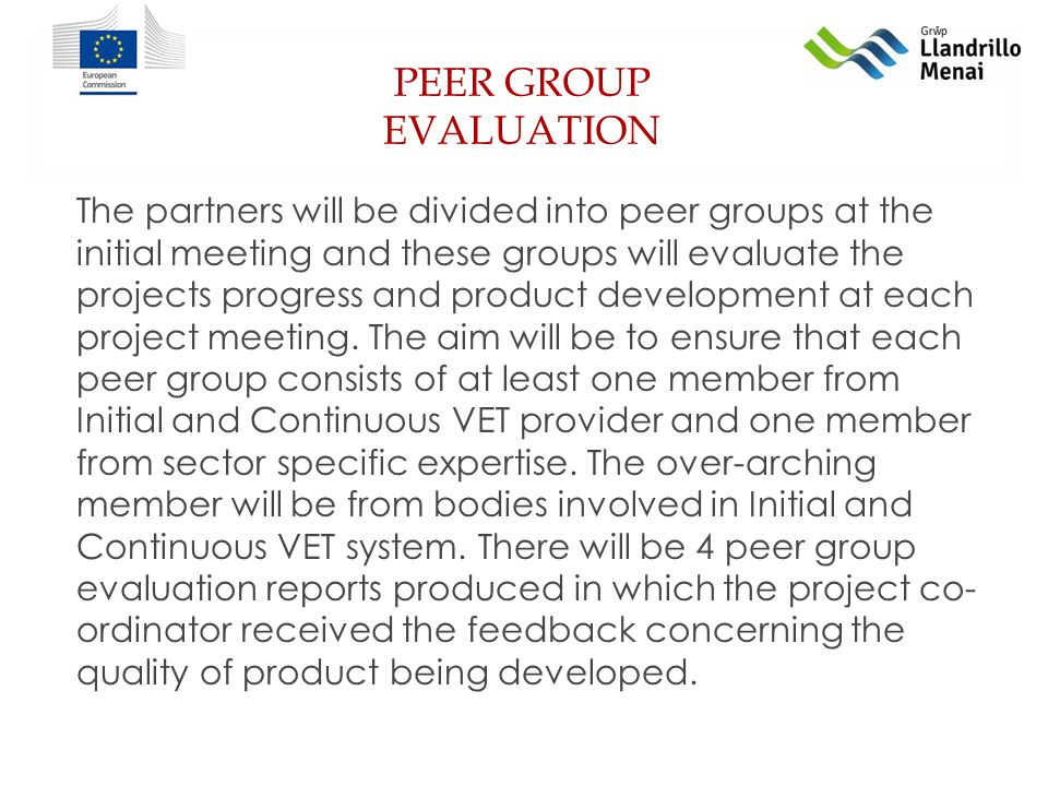 PEER GROUP EVALUATION The partners will be divided into peer groups at the initial meeting and these groups will evaluate the projects progress and product development at each project meeting.