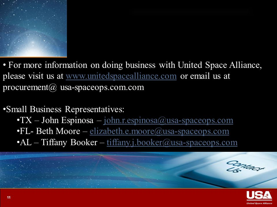 1 UNITED SPACE ALLIANCE The Space Operations Company sm. - ppt download