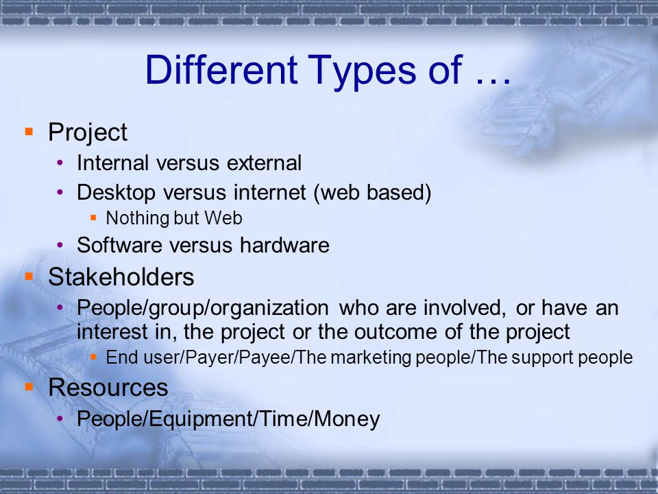 Different Types of …  Project Internal versus external Desktop versus internet (web based)  Nothing but Web Software versus hardware  Stakeholders People/group/organization who are involved, or have an interest in, the project or the outcome of the project  End user/Payer/Payee/The marketing people/The support people  Resources People/Equipment/Time/Money