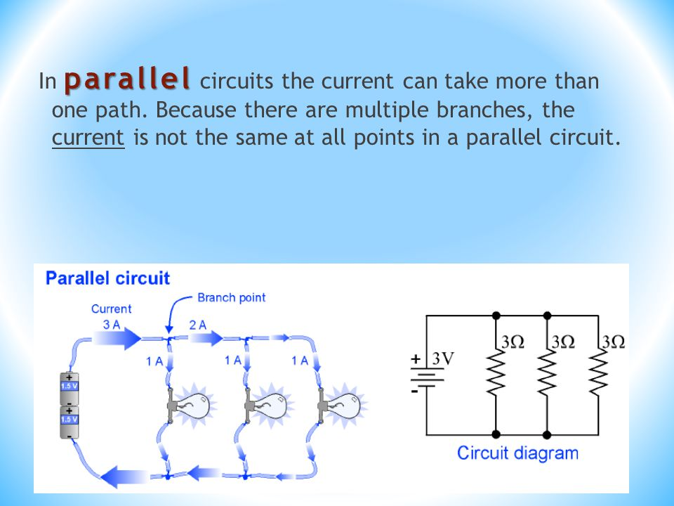 parallel In parallel circuits the current can take more than one path.