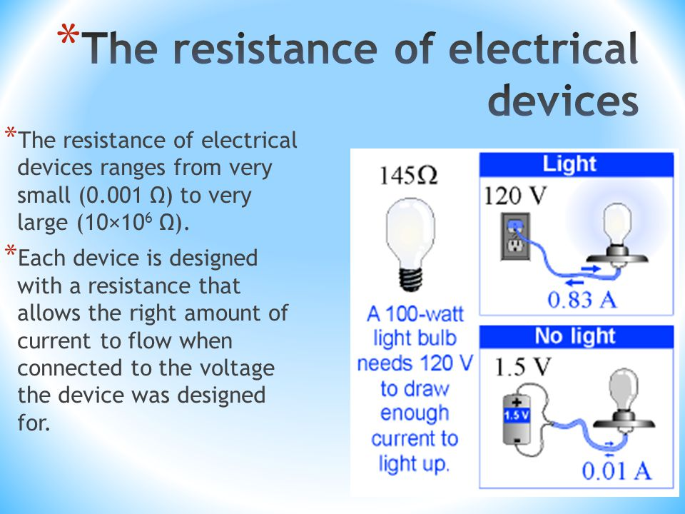 * The resistance of electrical devices ranges from very small (0.001 Ω) to very large (10×10 6 Ω).