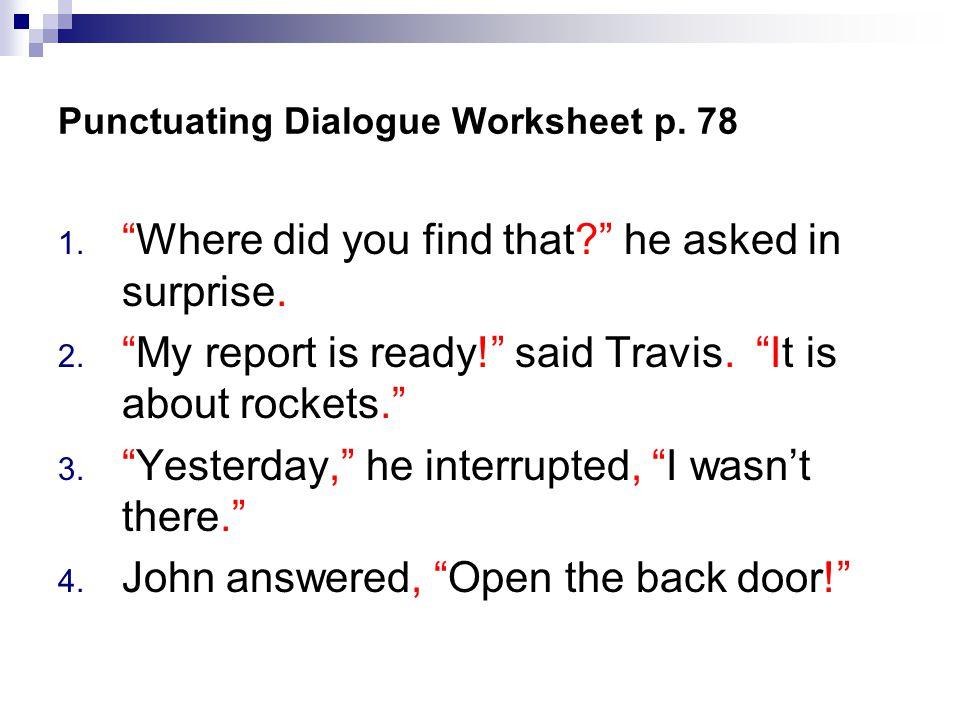 Dialogue Punctuation Worksheet Sharebrowse – Dialogue Worksheet
