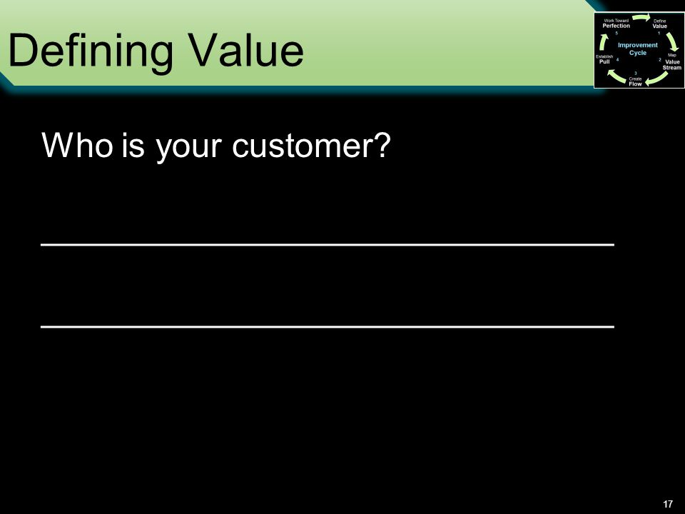 Defining Value 17 Who is your customer ______________________________