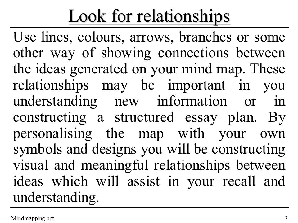 Mindmapping.ppt3 Look for relationships Use lines, colours, arrows, branches or some other way of showing connections between the ideas generated on your mind map.
