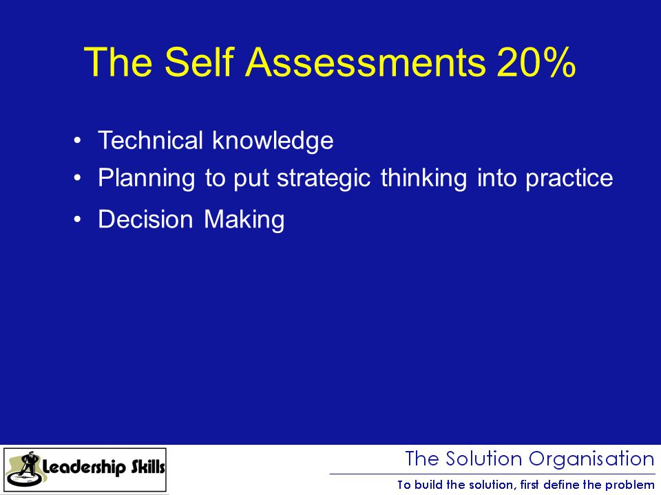 The Self Assessments 20% Technical knowledge Planning to put strategic thinking into practice Decision Making
