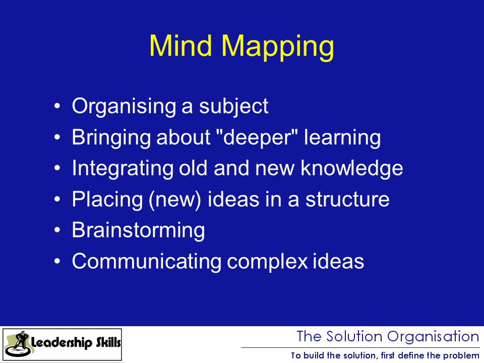 Mind Mapping Organising a subject Bringing about deeper learning Integrating old and new knowledge Placing (new) ideas in a structure Brainstorming Communicating complex ideas