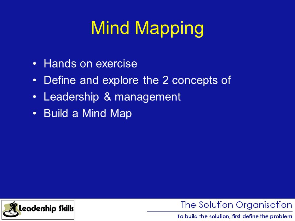 Hands on exercise Define and explore the 2 concepts of Leadership & management Build a Mind Map