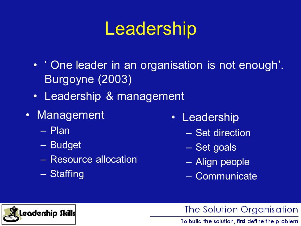 Leadership ' One leader in an organisation is not enough'.
