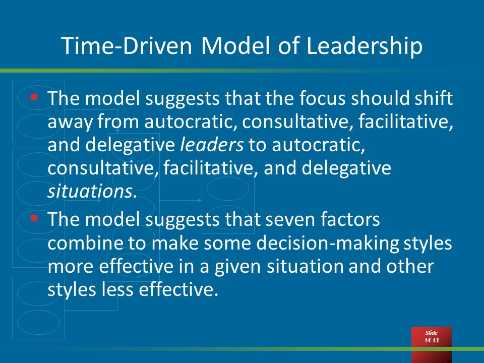 Slide Time-Driven Model of Leadership  The model suggests that the focus should shift away from autocratic, consultative, facilitative, and delegative leaders to autocratic, consultative, facilitative, and delegative situations.