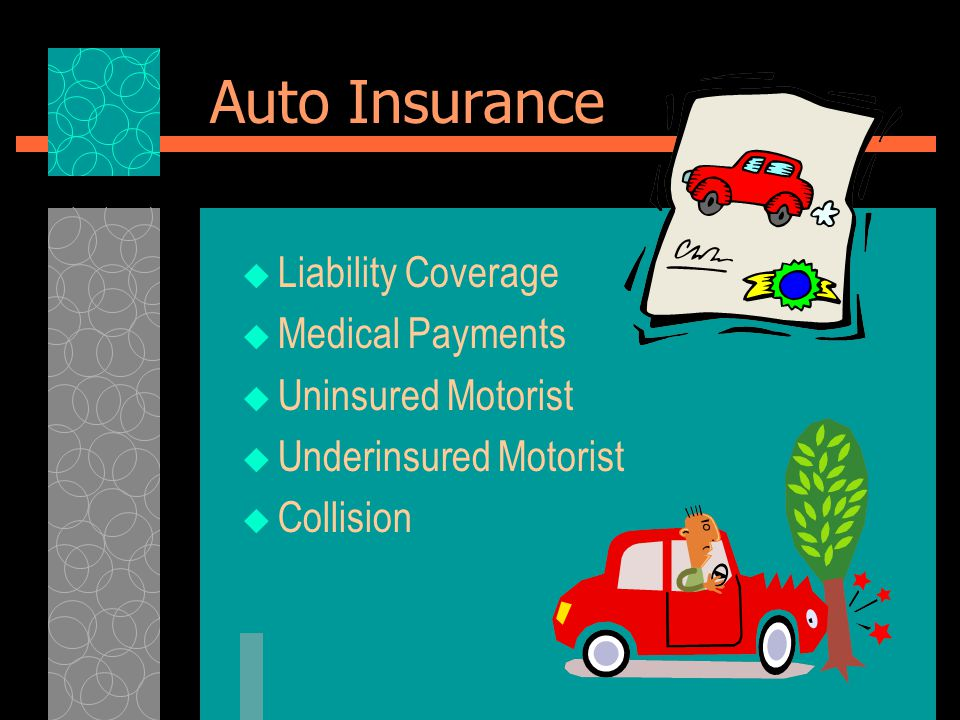 Auto Insurance  Liability Coverage  Medical Payments  Uninsured Motorist  Underinsured Motorist  Collision