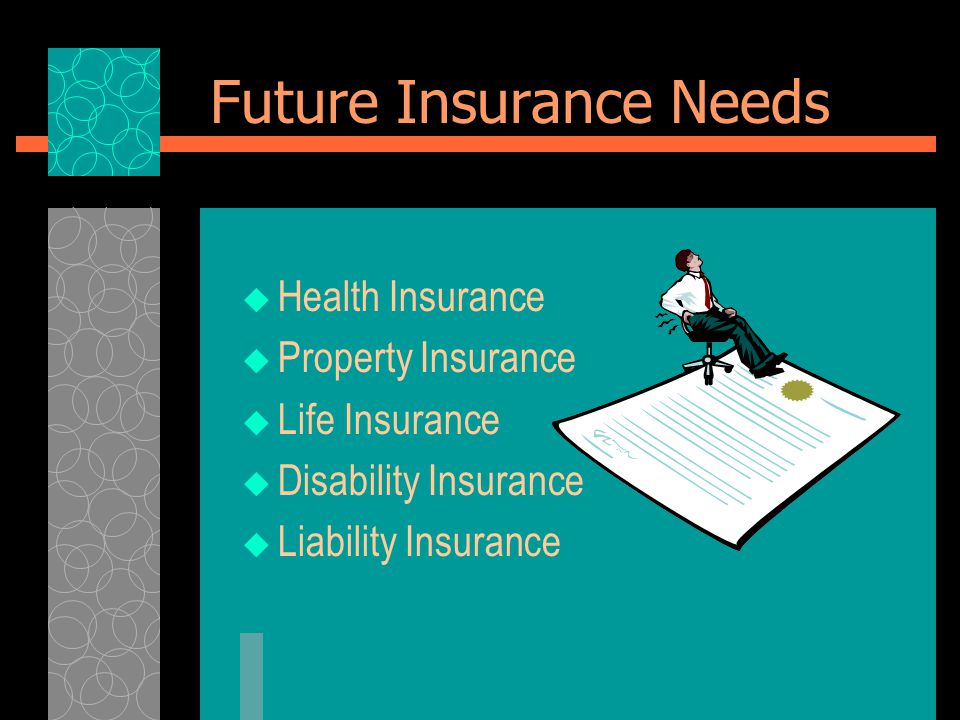 Future Insurance Needs  Health Insurance  Property Insurance  Life Insurance  Disability Insurance  Liability Insurance