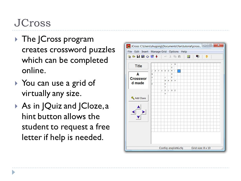JCross  The JCross program creates crossword puzzles which can be completed online.