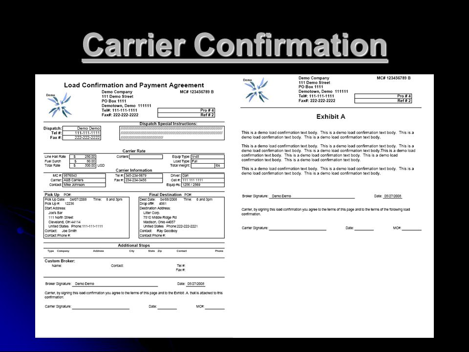 Carrier Confirmation