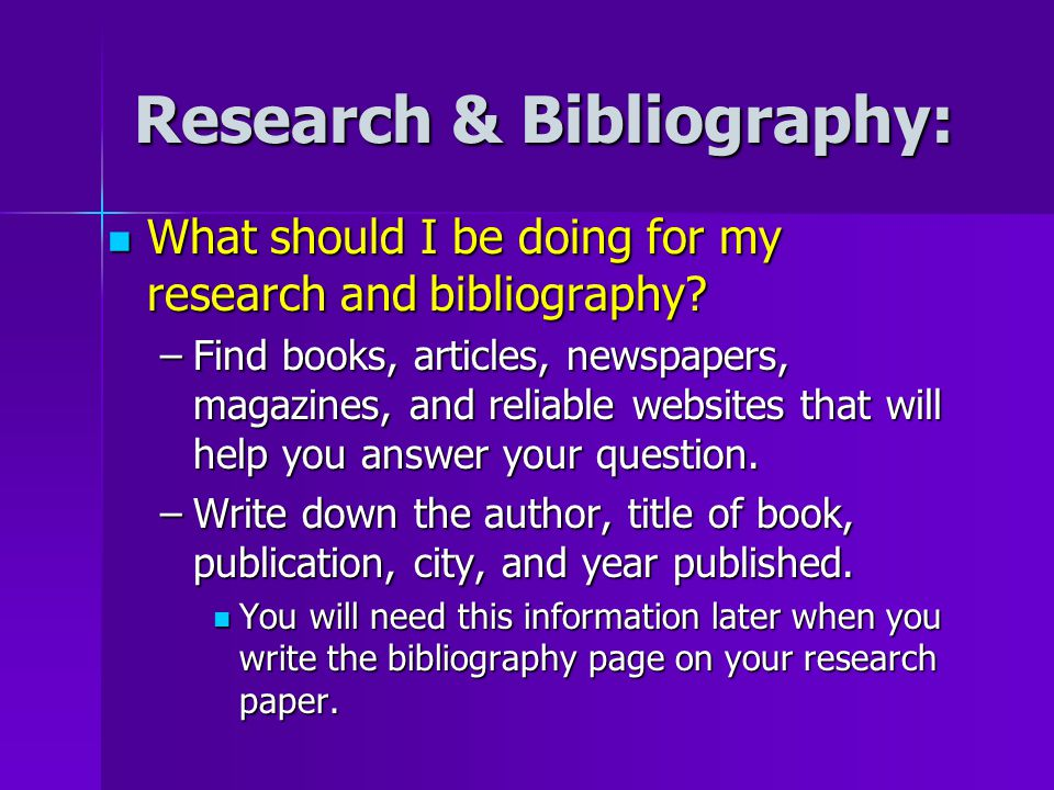 bibliography page for research papers