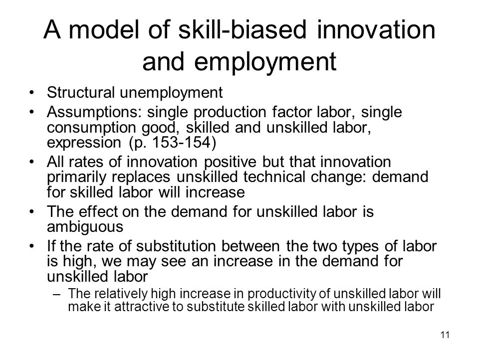 11 A model of skill-biased innovation and employment Structural unemployment Assumptions: single production factor labor, single consumption good, skilled and unskilled labor, expression (p.