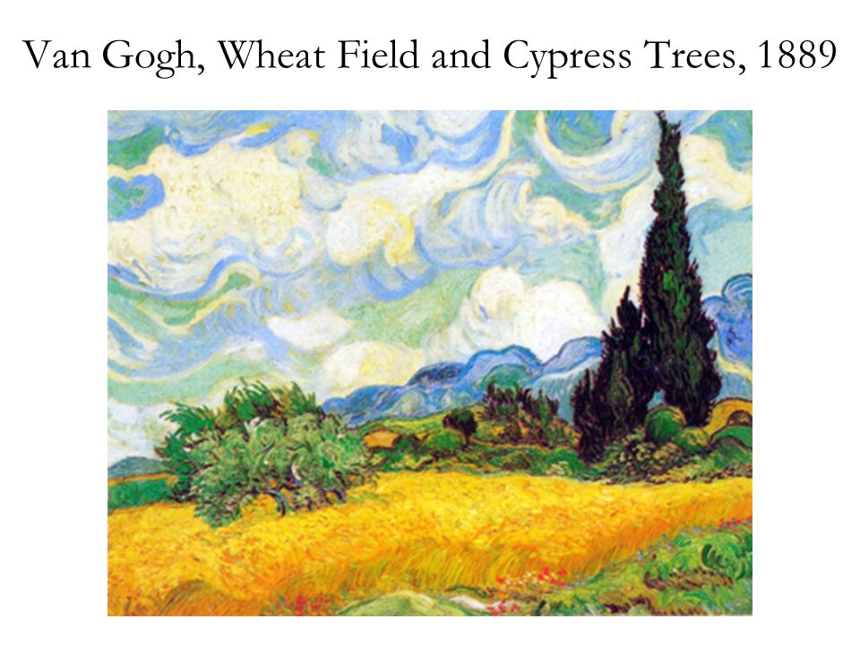 Van Gogh, Wheat Field and Cypress Trees, 1889