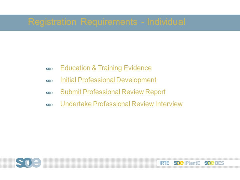 Education & Training Evidence Initial Professional Development Submit Professional Review Report Undertake Professional Review Interview Registration Requirements - Individual
