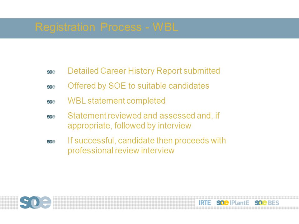 Detailed Career History Report submitted Offered by SOE to suitable candidates WBL statement completed Statement reviewed and assessed and, if appropriate, followed by interview If successful, candidate then proceeds with professional review interview Registration Process - WBL