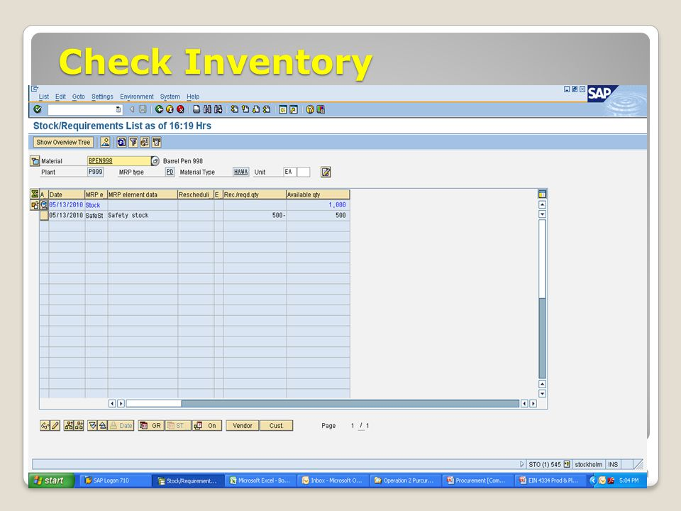 Check Inventory January 2008 © SAP AG - University Alliances and The Rushmore Group, LLC 2008.