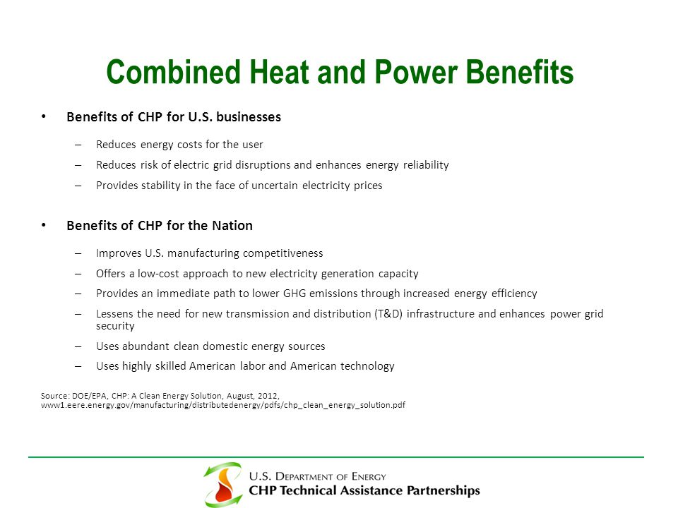 Benefits of CHP for U.S.