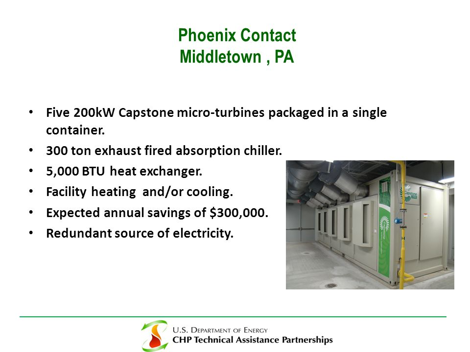 Five 200kW Capstone micro-turbines packaged in a single container.