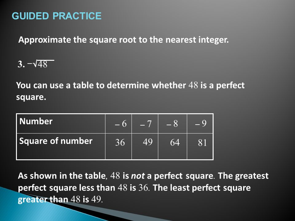 As shown in the table, 48 is not a perfect square.
