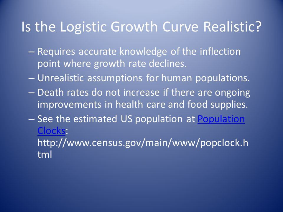 Is the Logistic Growth Curve Realistic.