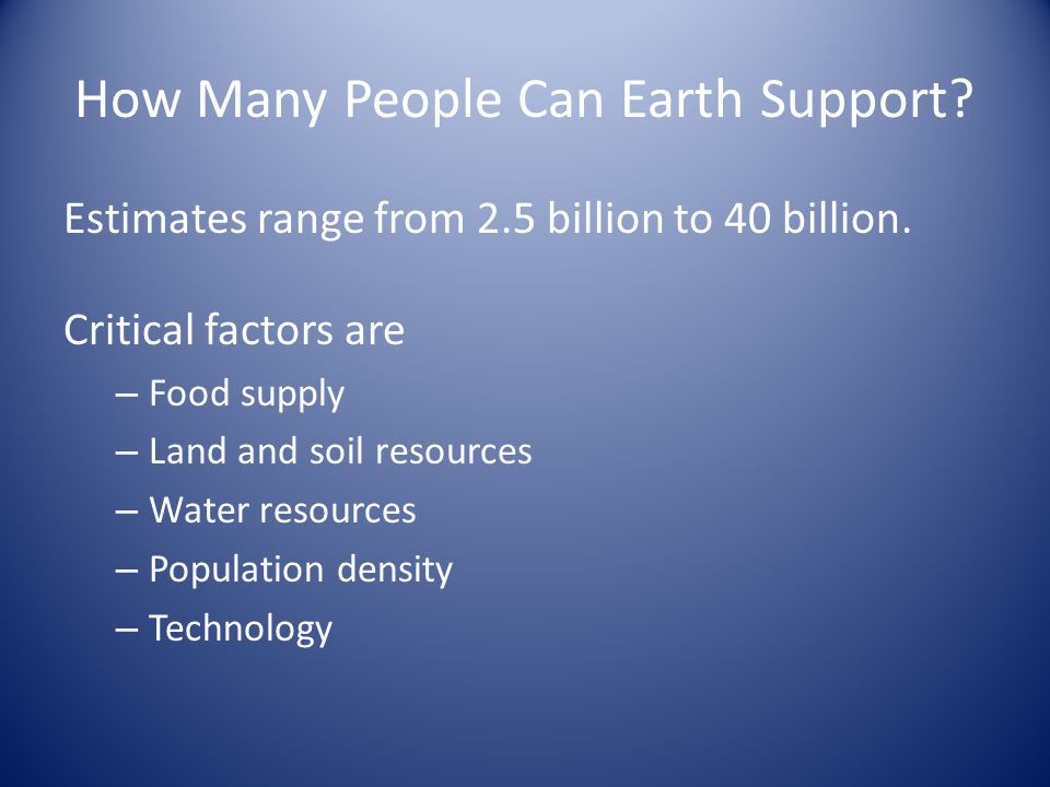 How Many People Can Earth Support. Estimates range from 2.5 billion to 40 billion.