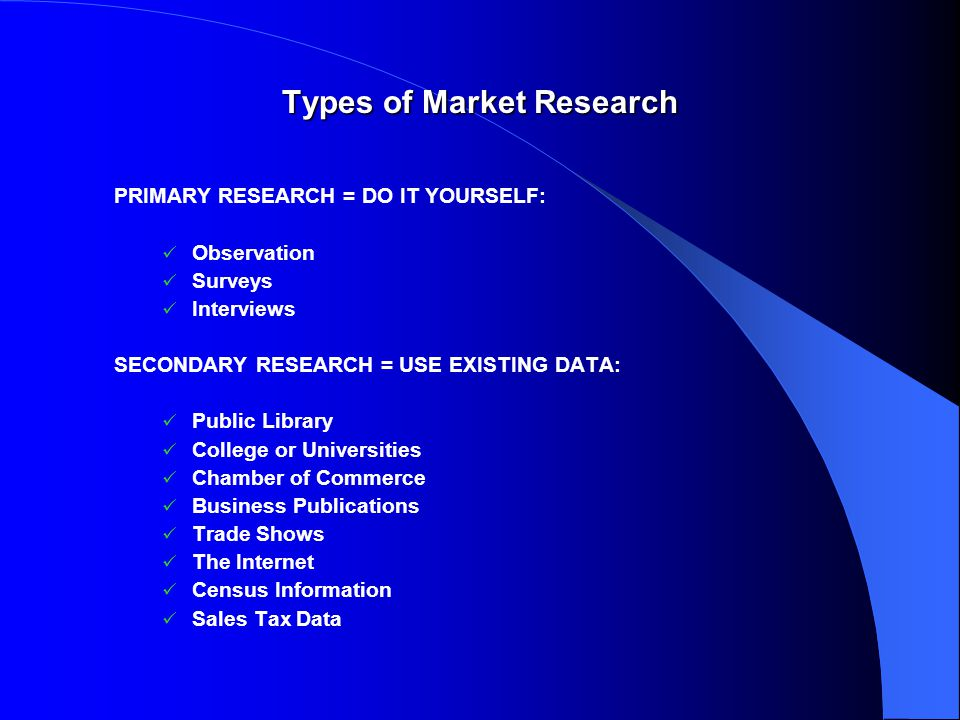Types of Market Research PRIMARY RESEARCH = DO IT YOURSELF: Observation Surveys Interviews SECONDARY RESEARCH = USE EXISTING DATA: Public Library College or Universities Chamber of Commerce Business Publications Trade Shows The Internet Census Information Sales Tax Data