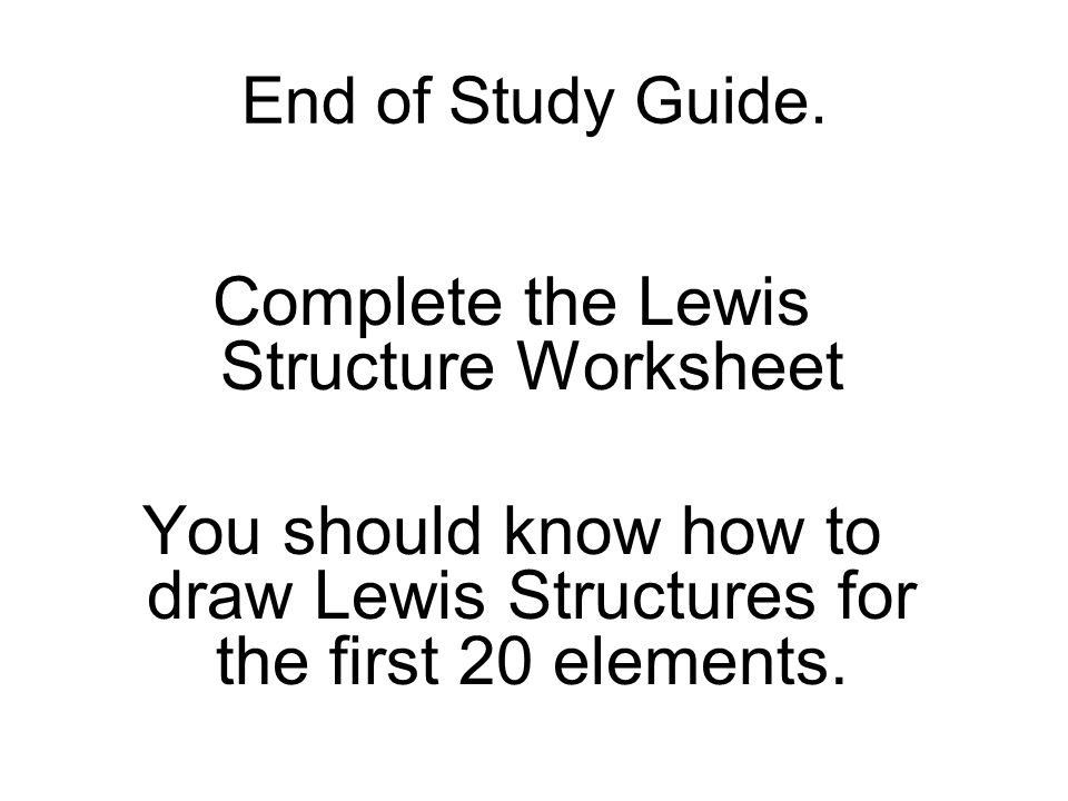 How to Draw Lewis Structures Lewis Structures 1Find your element – Lewis Structures Worksheet