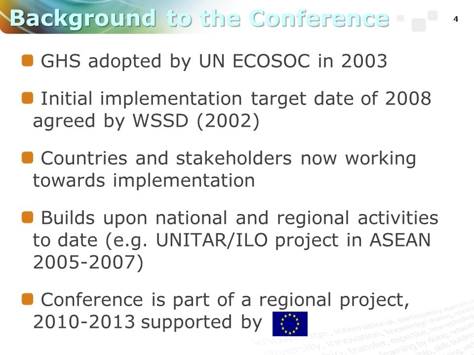 4 GHS adopted by UN ECOSOC in 2003 Initial implementation target date of 2008 agreed by WSSD (2002) Countries and stakeholders now working towards implementation Builds upon national and regional activities to date (e.g.