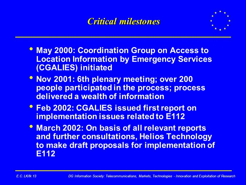 DG Information Society: Telecommunications, Markets, Technologies - Innovation and Exploitation of ResearchE.C.