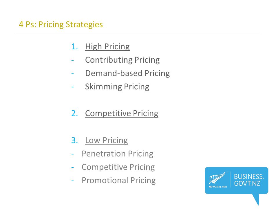 1.High Pricing -Contributing Pricing -Demand-based Pricing -Skimming Pricing 2.Competitive Pricing 3.Low Pricing -Penetration Pricing -Competitive Pricing -Promotional Pricing 4 Ps: Pricing Strategies