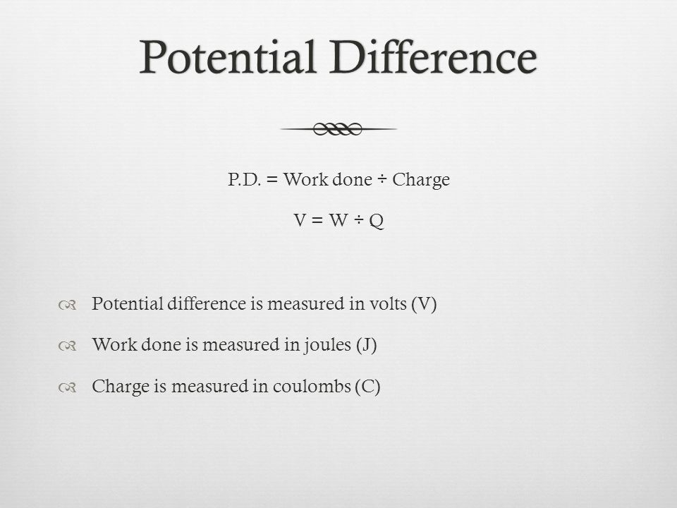 Potential DifferencePotential Difference P.D.