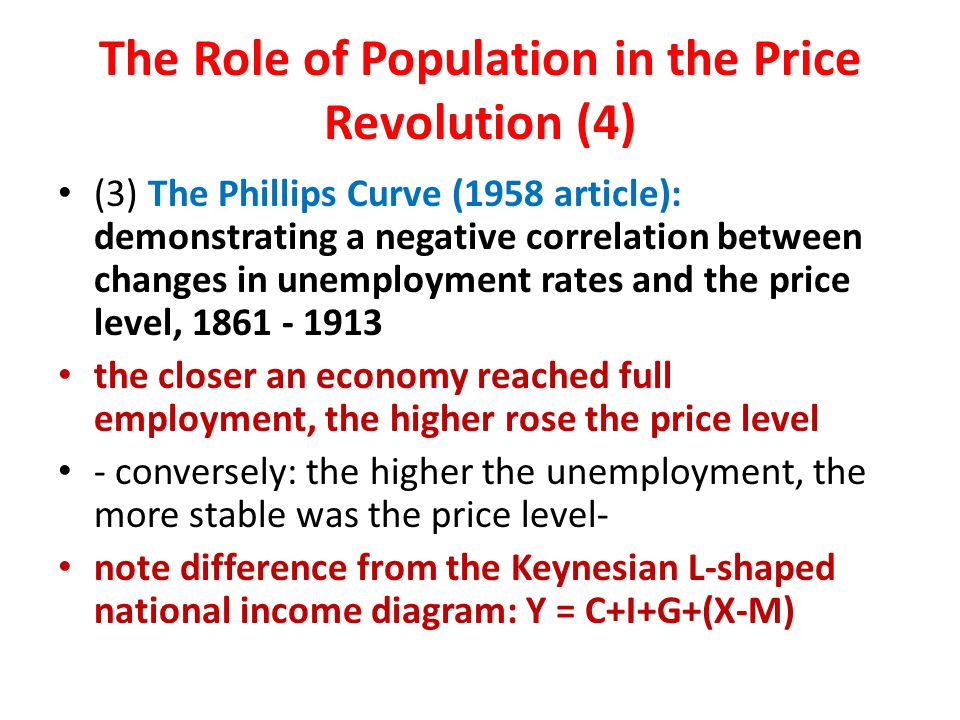 The Role of Population in the Price Revolution (4) (3) The Phillips Curve (1958 article): demonstrating a negative correlation between changes in unemployment rates and the price level, 1861 - 1913 the closer an economy reached full employment, the higher rose the price level - conversely: the higher the unemployment, the more stable was the price level- note difference from the Keynesian L-shaped national income diagram: Y = C+I+G+(X-M)