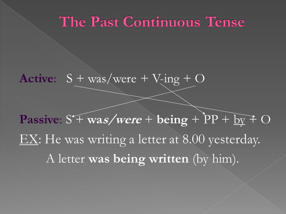 Active: S + was/were + V-ing + O Passive: S + was/were + being + PP + by + O EX: He was writing a letter at 8.00 yesterday.