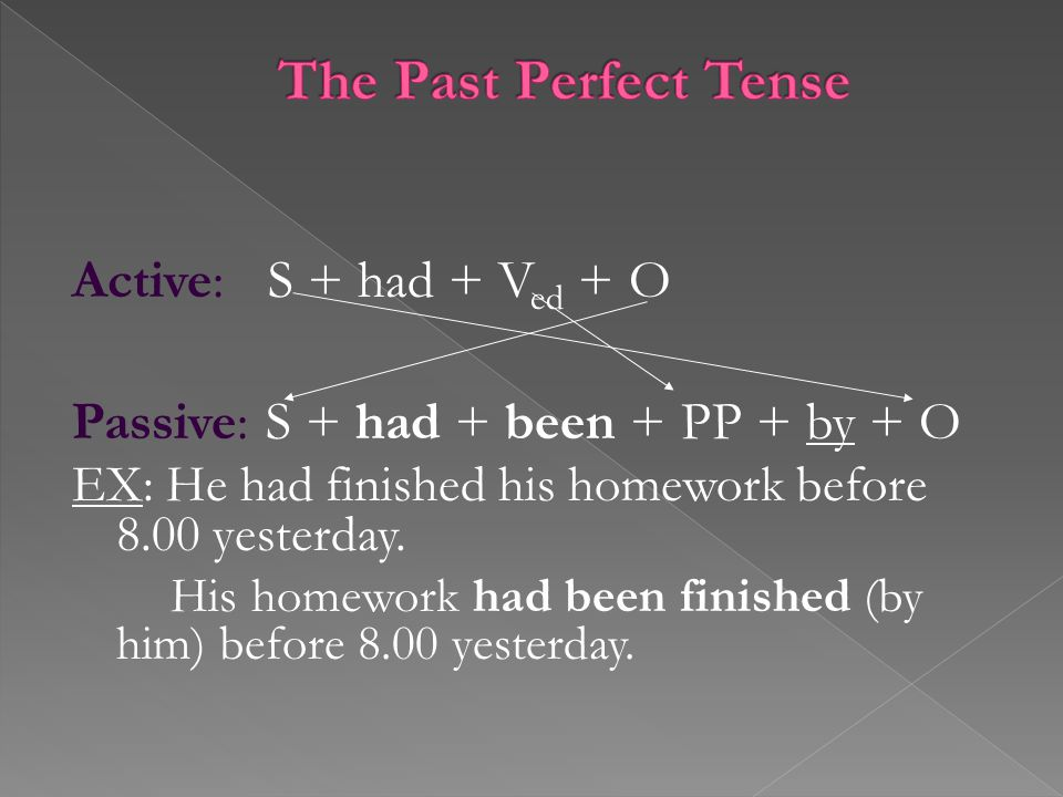 Active: S + had + V ed + O Passive: S + had + been + PP + by + O EX: He had finished his homework before 8.00 yesterday.