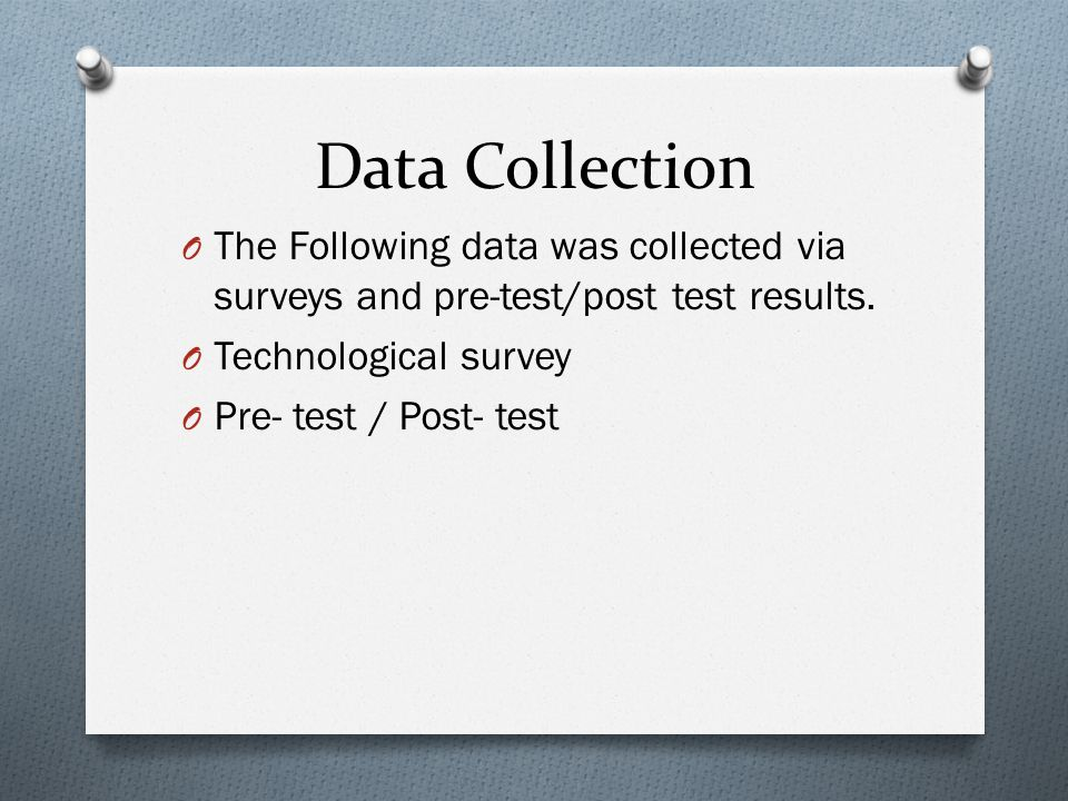 Data Collection O The Following data was collected via surveys and pre-test/post test results.
